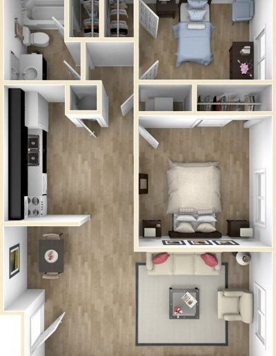 Large 2 Bedroom Floor Plan